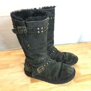 Ugg Black Women Shearling Boots Mid calf  SIZE 6